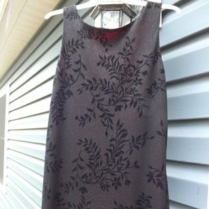 Black glitter dress with floral design and red